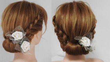 三つ編み込みで作る簡単まとめ髪/大人シニヨン ヘアアレンジ