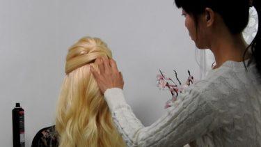 【ポンパドール ハーフアップ】前髪 逆毛なし でポンパドール を作る