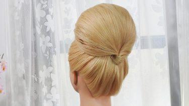 【 高めシニヨン】前髪4本編み おだんご髪型/Elegant High Chignon
