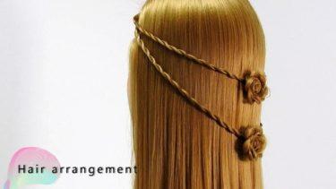 髪で花を作るハーフアップアレンジ