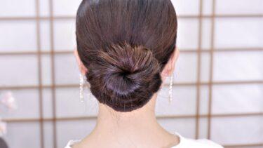 お団子ヘアアレンジ//低めおだんご風シニヨン髪型